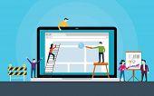 Website Development Team On Front Of Laptop Build A Website Vector Illustration poster