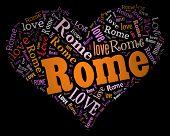 Wordcloud: love heart of city Rome