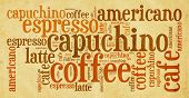 Wordcloud of coffee