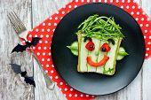 Halloween Green Monster Sandwich For Kids Breakfast, Fun And Creative Vegetable Sandwich Shaped Fran poster