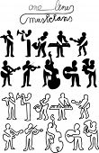 ten musicians silhouettes made with one line