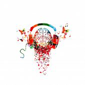 Colorful Human Brain With Music Notes And Headphones Isolated Vector Illustration Design. Artistic M poster