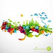 stock photo of sustainable development  - rainbow ecotown  - JPG