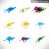 kangaroo stylized illustrations - various creative abstract signs of australian animal