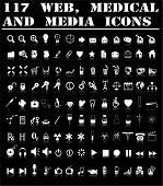 Iconos de la web, médicos y medios de comunicación