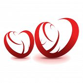 stock photo of valentine heart  - Two red hearts - JPG