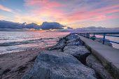 Sunrise Beach Scenic Seascape. Coastal Scenic Sunrise Beach On The Rocky Shore Of Lake Huron In Lexi poster