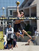 HERMOSA BEACH, CA - JULY 21: Ty Tramblie  competes in the Jose Cuervo Pro Beach Volleyball tournamen