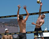 HERMOSA BEACH, CA - JULY 21: John Hyden, Sean Scott  and Mark Williams  compete in the Jose Cuervo P