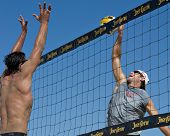 HERMOSA BEACH, CA - JULY 21: John Hyden and Danko Iordanov compete in the Jose Cuervo Pro Beach Voll
