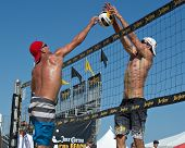 HERMOSA BEACH, CA - JULY 21: Sean Scott and Bartosz Bachorski compete in the Jose Cuervo Pro Beach V