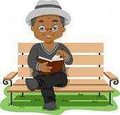 Illustration Featuring an Elderly Man Reading a Book