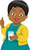 Illustration Featuring an Elderly Woman Holding a Glass of Milk