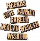 career, family, wealth, love, friends, health, wisdom  - list of popular life values  - a collage of