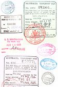 Assorted passport stamps and visa's from Sydney Australia, Larnaca Cyprus, visa s issued in Los Angeles and San Francisco,
