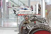 Motor of helicopter on exhibition, focus on motor