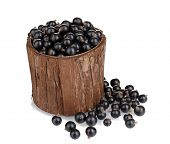 Black currant in wooden cup isolated on white
