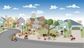 Cute happy cartoon kids playing in the street of a retro suburb neighborhood. Cartoon city.