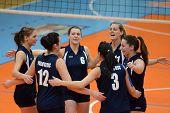 KAPOSVAR, HUNGARY - MARCH 16: Palota players celebrate at the Hungarian Championship volleyball game
