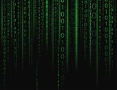 Stream on binary codes on black background