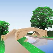 A British Canal Bridge with Towpath