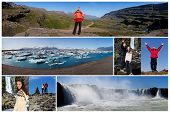 Montage of young couple and people hiking and exploring the landscape of Iceland including Godafoss waterfall and Jokulsarlon iceberg lake
