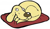 dog on bed cartoon