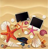 Various objects on the sand, Seashells, snails, pearls, polaroid.  Vector Illustration.