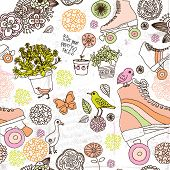 foto of roller-derby  - Seamless flower teenager roller skates derby background pattern in vector - JPG
