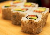 macro rolls with shrimp, crab and avocado