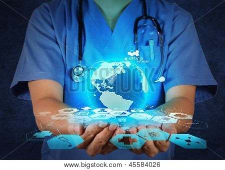 Medical Doctor Holding A World Globe In Her Hands As Medical Network poster