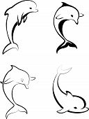 image of porpoise  - Silhouettes of the dolphins  - JPG