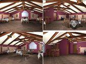 3D rendering Classic interior of restaurant