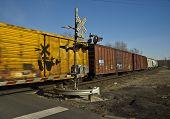 stock photo of burlington  - Burlington Northern Santa Fe railroad crossing with freight train speeding with it - JPG