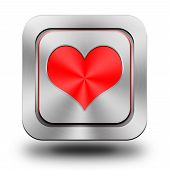 Playing Card, Heart, Aluminum Glossy Icon, Button
