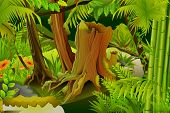stock photo of coniferous forest  - vector illustration of dense trees in mystic jungle - JPG