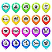 Map marker with icons-set six