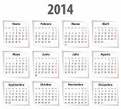 Spanish Calendar For 2014 With Shadows. Mondays First