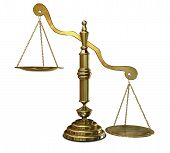 picture of divergent  - An empty gold justice scale with one side outweighing the the other on an isolated background - JPG