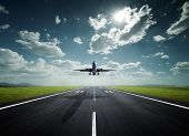 stock photo of aeroplane  - aeroplane at the airport with good weather - JPG