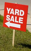 image of yard sale  - Yard sale sign on lawn in summer - JPG