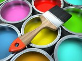 pic of pigment  - Banks of multicolored paint and brush illustration - JPG