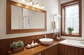 stock photo of mirror  - Modern Residential Home Bathroom with large mirror - JPG