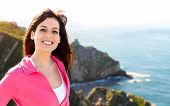 Happy Woman On Summer Coast Landscape Travel