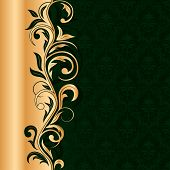 Green Seamless Background With Gold Pattern