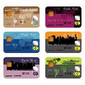 Set of six credit cards