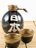 Ceramic Sake Bottle And Cups