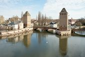 Petite-france, Medieval Bridge Ponts Couverts And Towers, Strasbourg, France
