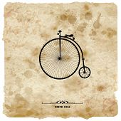 Vintage postcard. Retro bicycle on Grunge Background