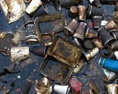 stock photo of non-biodegradable  - Collection of pollution in a city lake - JPG